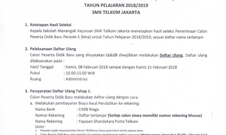 Pengumuman Hasil Seleksi PPDB Periode 5 Tahun Ajaran 2018/2019